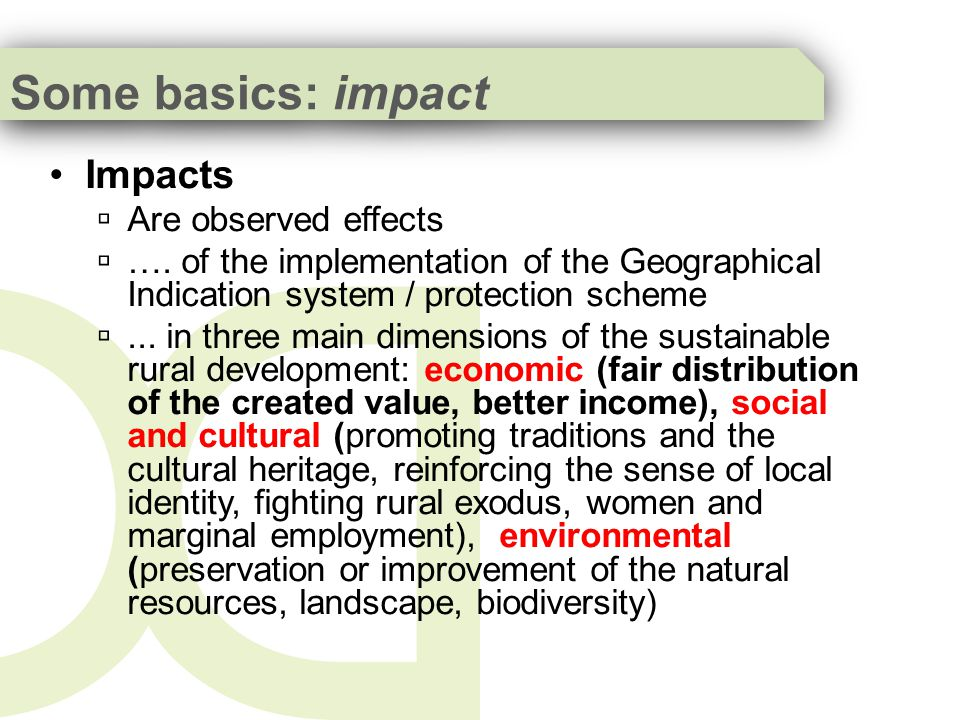 Conclusions about study results Research studies clearly identify the ability of GIs production systems to create positive effects on rural development The protection scheme does not guarantee these positive effects but may reinforce them The registration process should look carefully at the present effects on rural development (economic, social, environmental) The positive effects depend on the strategies that the local and non-local actors undertake