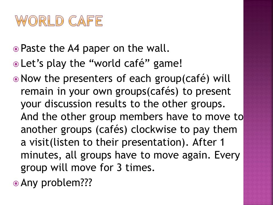 Paste the A4 paper on the wall. Lets play the world café game.
