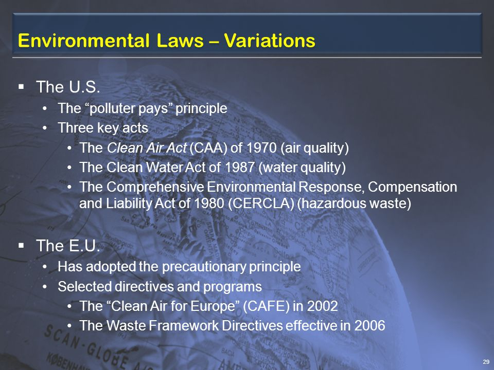 Environmental Laws – Variations The U.S.
