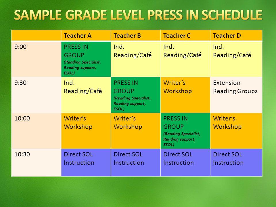 Teacher ATeacher BTeacher CTeacher D 9:00PRESS IN GROUP (Reading Specialist, Reading support, ESOL) Ind.