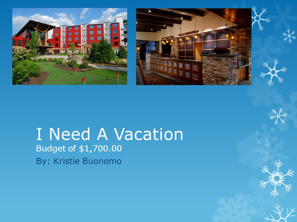 I Need A Vacation Budget of $1, By: Kristie Buonomo