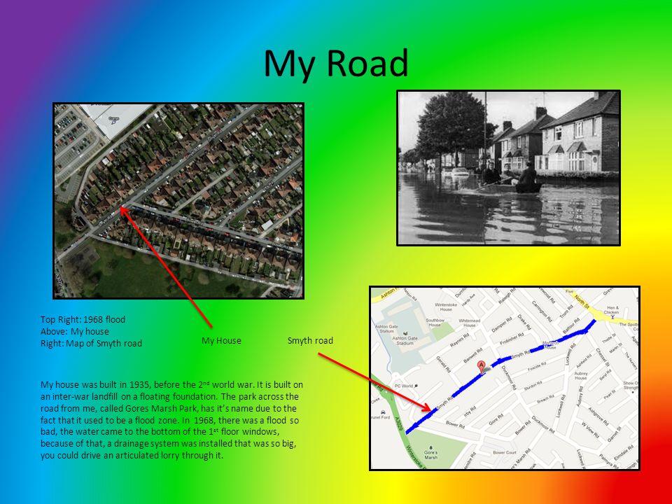 My Road Smyth roadMy House Top Right: 1968 flood Above: My house Right: Map of Smyth road My house was built in 1935, before the 2 nd world war.