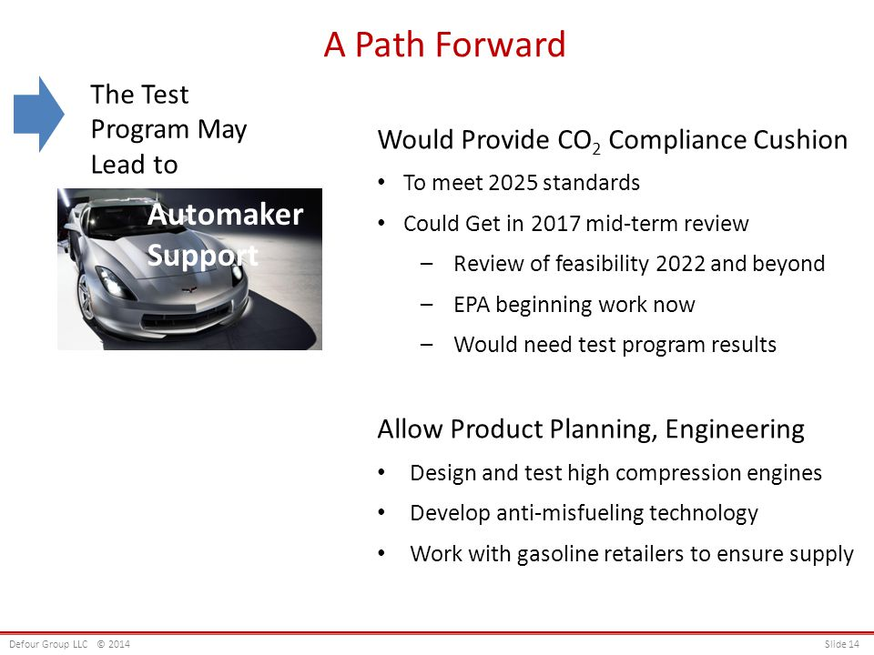 A Path Forward Would Provide CO 2 Compliance Cushion To meet 2025 standards Could Get in 2017 mid-term review –Review of feasibility 2022 and beyond –EPA beginning work now –Would need test program results Allow Product Planning, Engineering Design and test high compression engines Develop anti-misfueling technology Work with gasoline retailers to ensure supply Automaker Support Defour Group LLC© 2014 Slide 14 The Test Program May Lead to