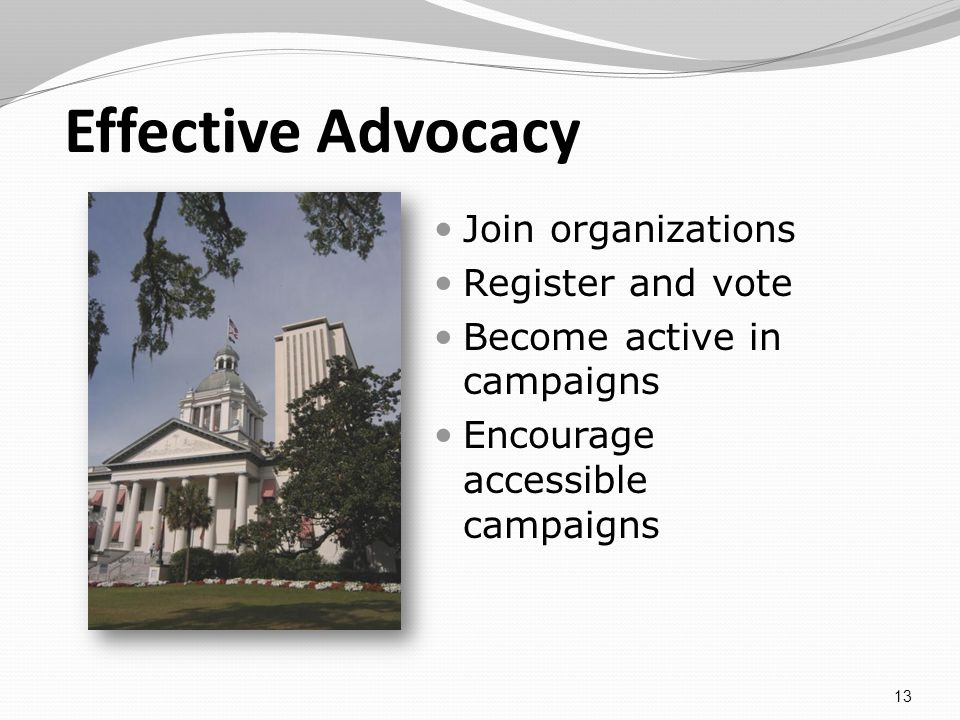 Effective Advocacy Join organizations Register and vote Become active in campaigns Encourage accessible campaigns 13