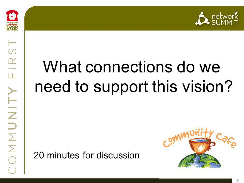 16 What connections do we need to support this vision 20 minutes for discussion
