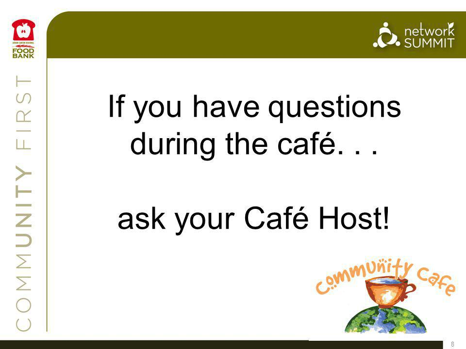 8 If you have questions during the café... ask your Café Host!