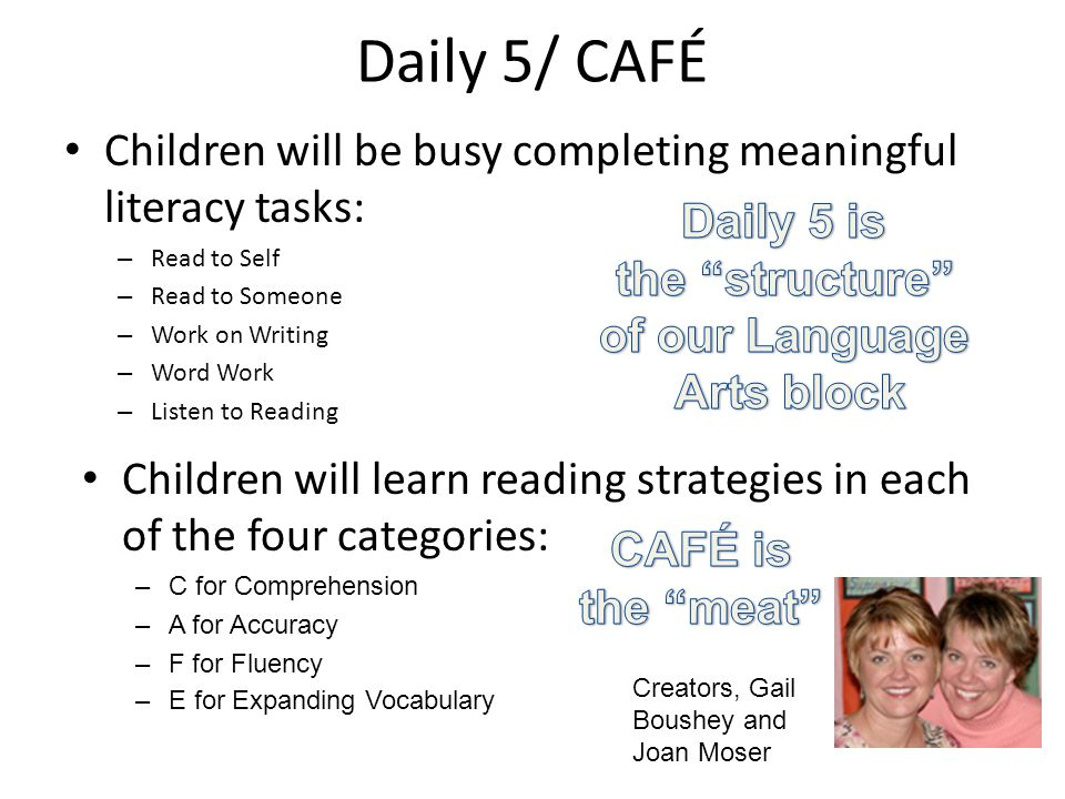 Daily 5/ CAFÉ Children will be busy completing meaningful literacy tasks: – Read to Self – Read to Someone – Work on Writing – Word Work – Listen to Reading Children will learn reading strategies in each of the four categories: –C for Comprehension –A for Accuracy –F for Fluency –E for Expanding Vocabulary Creators, Gail Boushey and Joan Moser