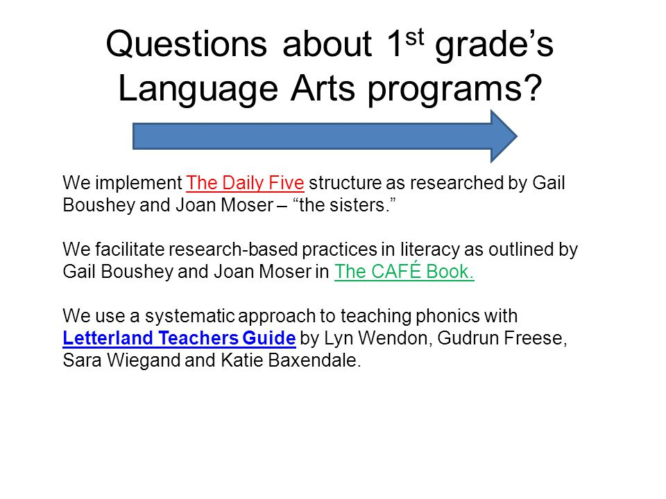 Questions about 1 st grades Language Arts programs.