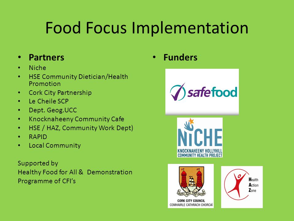 Food Focus Implementation Partners Niche HSE Community Dietician/Health Promotion Cork City Partnership Le Cheile SCP Dept.