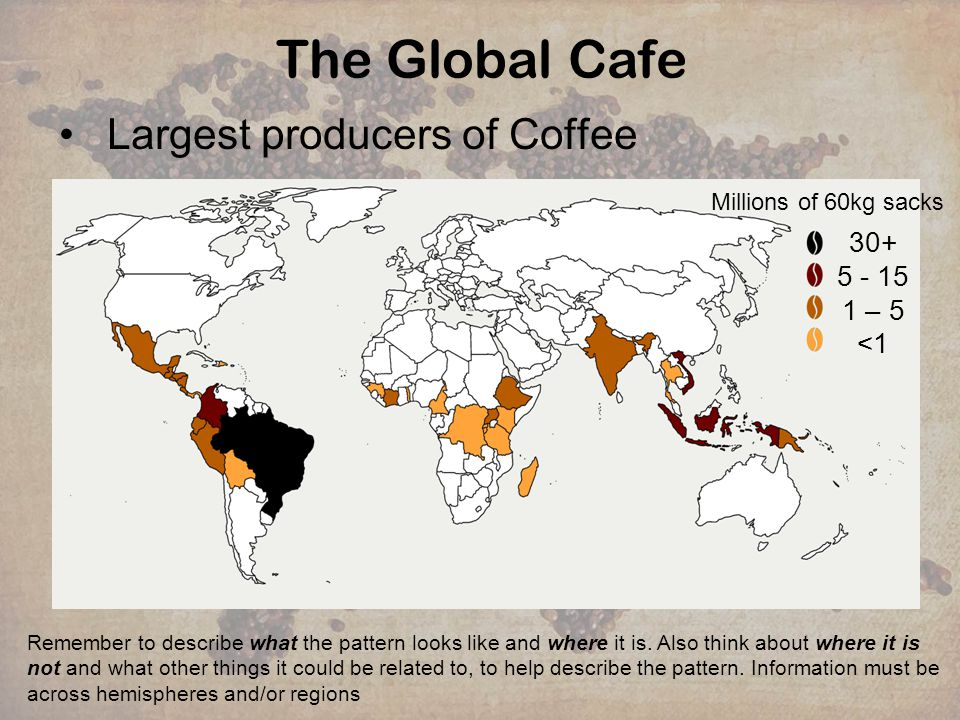 The Global Cafe Largest producers of Coffee Remember to describe what the pattern looks like and where it is. Also think about where it is not and wha