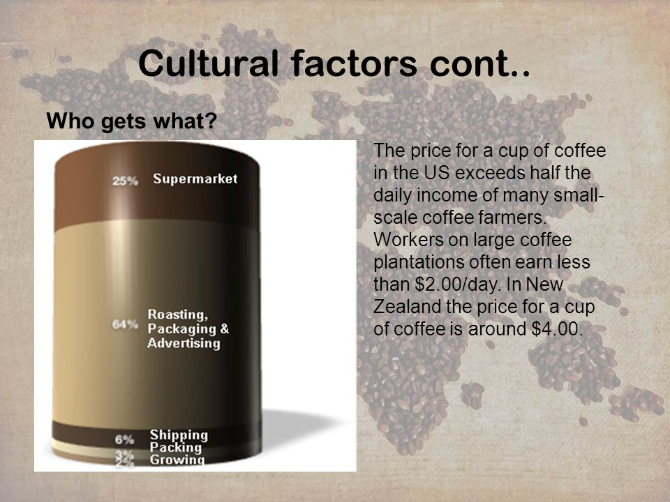 Cultural factors cont.. The price for a cup of coffee in the US exceeds half the daily income of many small- scale coffee farmers. Workers on large co