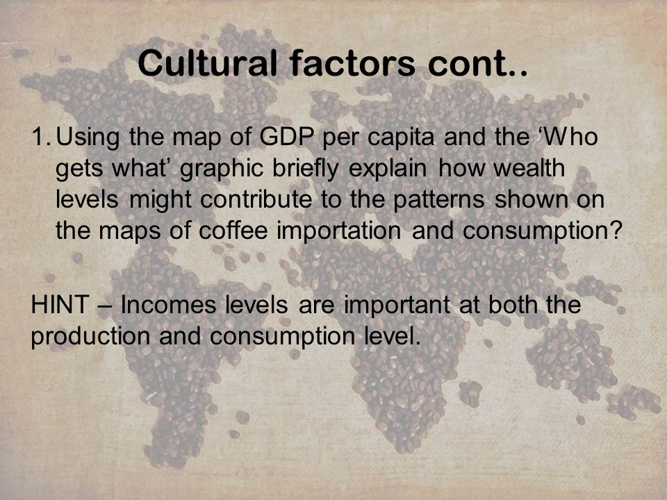 Cultural factors cont.. 1.Using the map of GDP per capita and the Who gets what graphic briefly explain how wealth levels might contribute to the patt