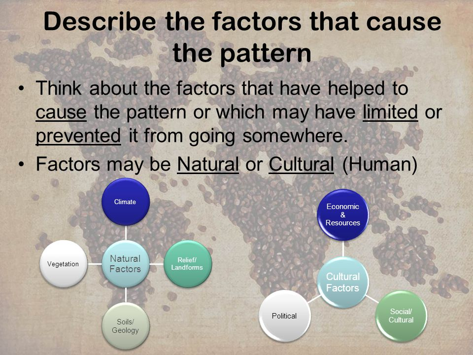 Describe the factors that cause the pattern Worked example: Global Internet usage Natural factorsCultural factors Areas that are flat or dont have harsh climates, terrain are easier to build infrastructure needed.