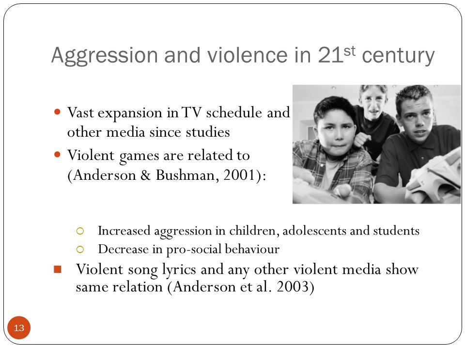 12 Corporal punishments breeds aggression Aggression and violence pre-date TV Enron suggests that corporate punishment promotes aggression Those subjected to punishment were rated as aggressive by peers By hitting child, parent provides model for behaviour Punishment only shows what not to do It does not show how to deal with frustration, etc.