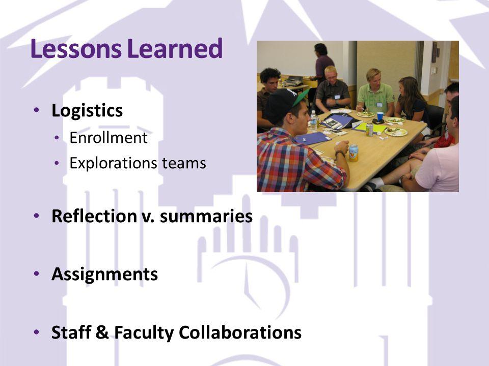 Lessons Learned Logistics Enrollment Explorations teams Reflection v.