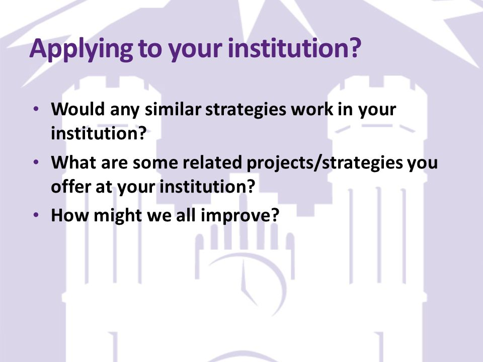 Applying to your institution. Would any similar strategies work in your institution.