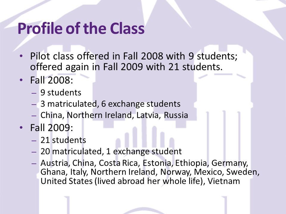 Profile of the Class Pilot class offered in Fall 2008 with 9 students; offered again in Fall 2009 with 21 students.