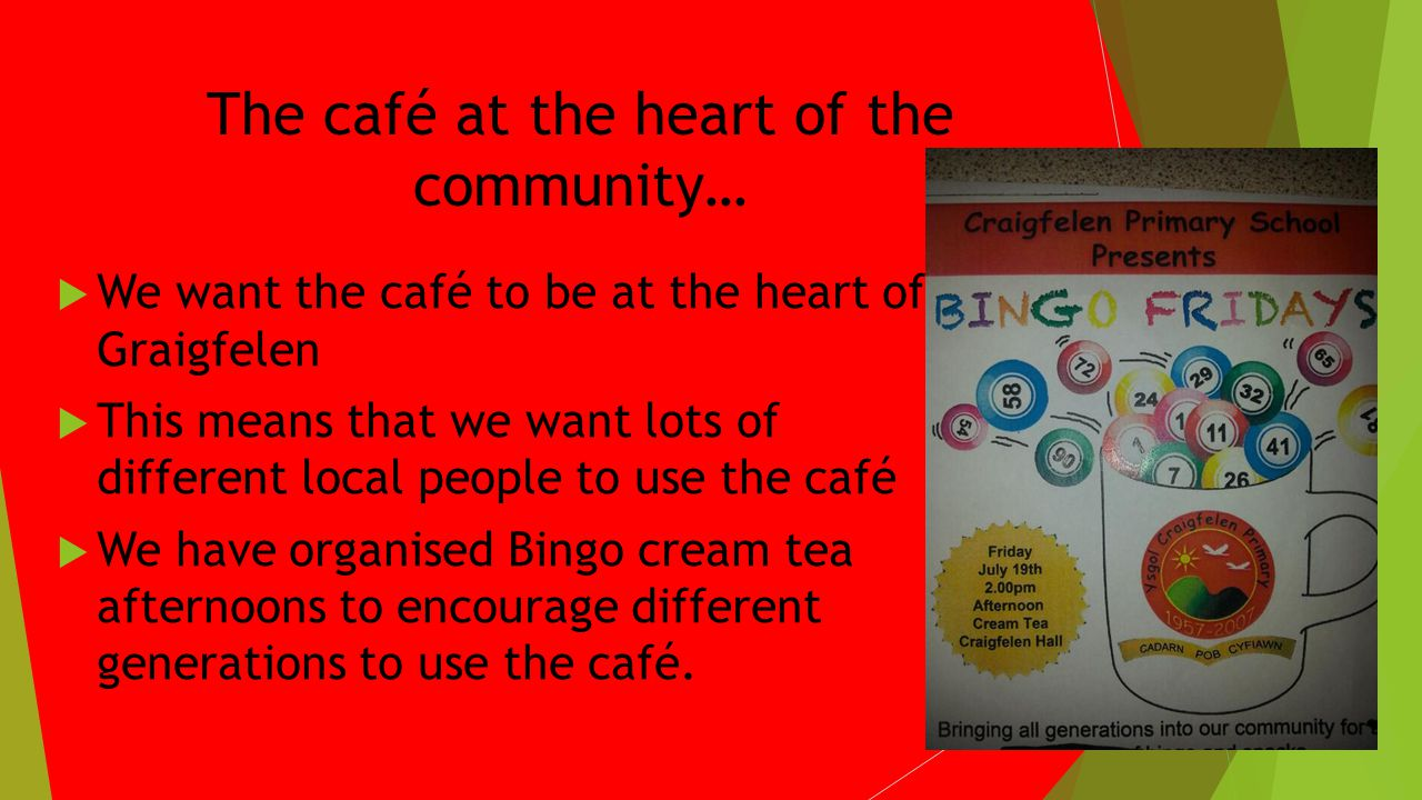 The café at the heart of the community… We want the café to be at the heart of Graigfelen This means that we want lots of different local people to use the café We have organised Bingo cream tea afternoons to encourage different generations to use the café.