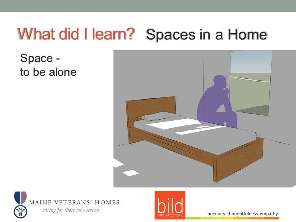 What did I learn Spaces in a Home Space - to be alone