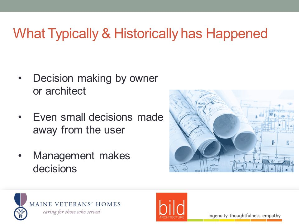 Decision making by owner or architect Even small decisions made away from the user Management makes decisions What Typically & Historically has Happened