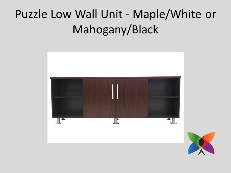 Puzzle Low Wall Unit - Maple/White or Mahogany/Black