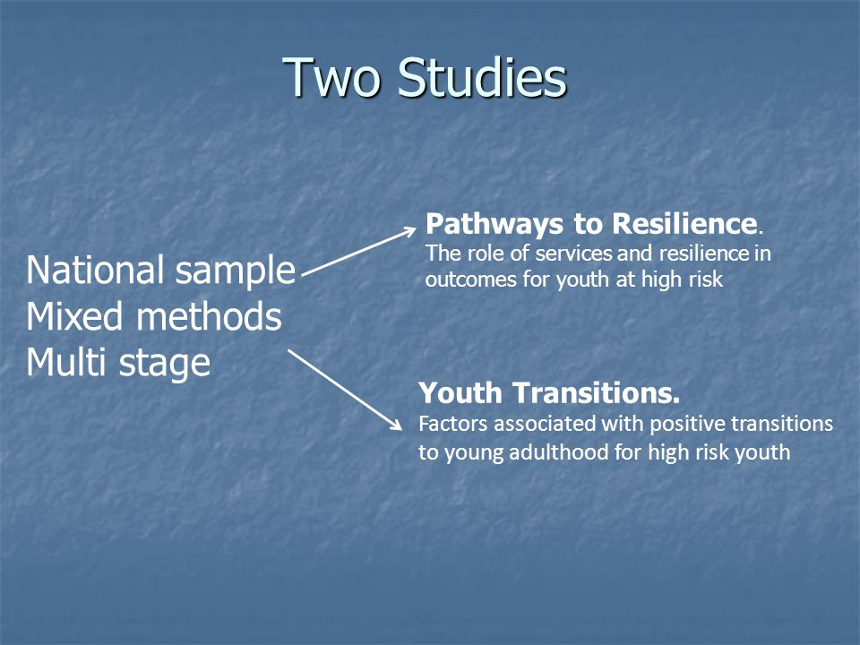 Two Studies Pathways to Resilience.