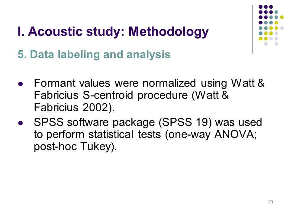 24 I. Acoustic study: Methodology 5.