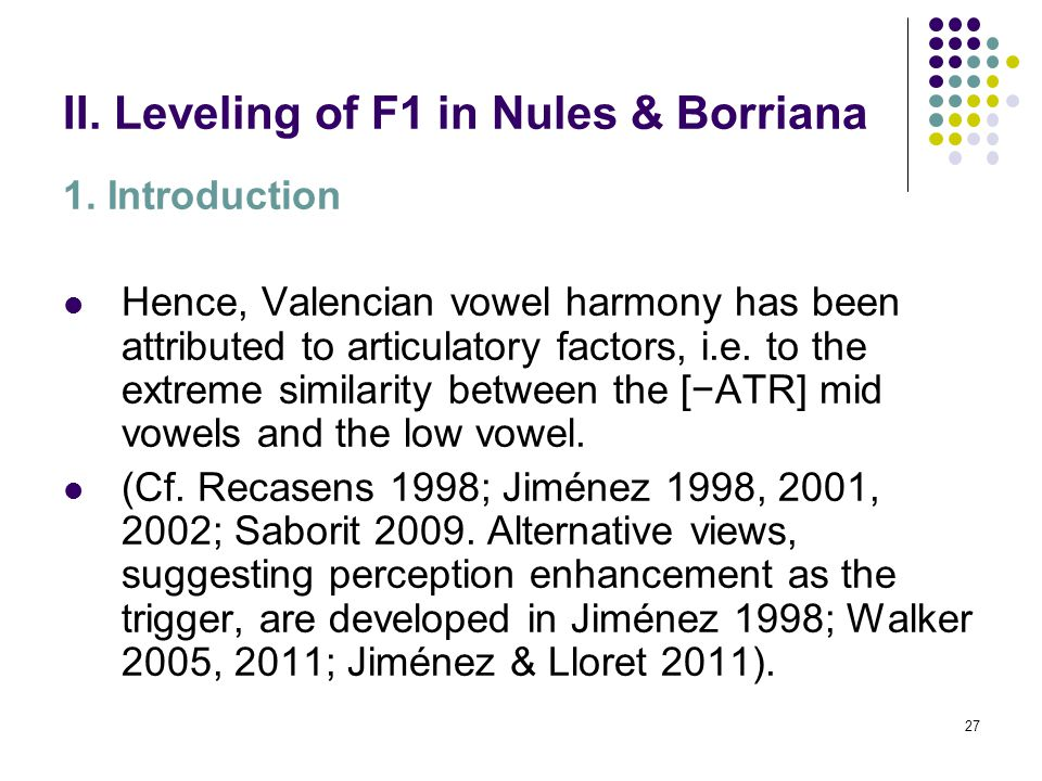 26 II. Leveling of F1 in Nules & Borriana 1.