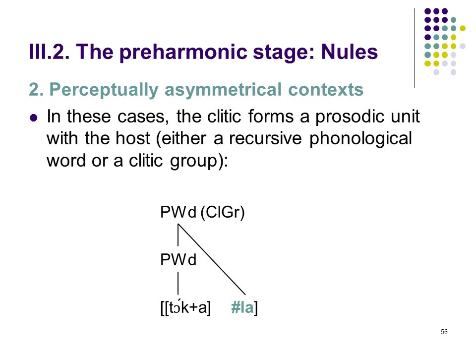 55 III.2. The preharmonic stage: Nules 2.