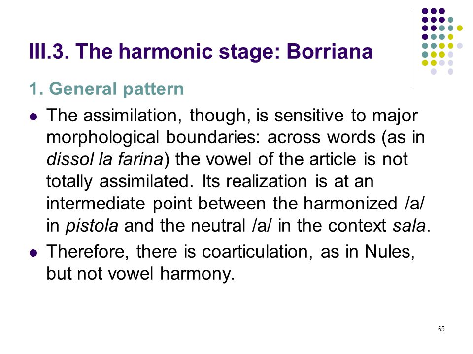 64 III.3. The harmonic stage: Borriana [F (4, 75) = 37,067, p = 0,000]