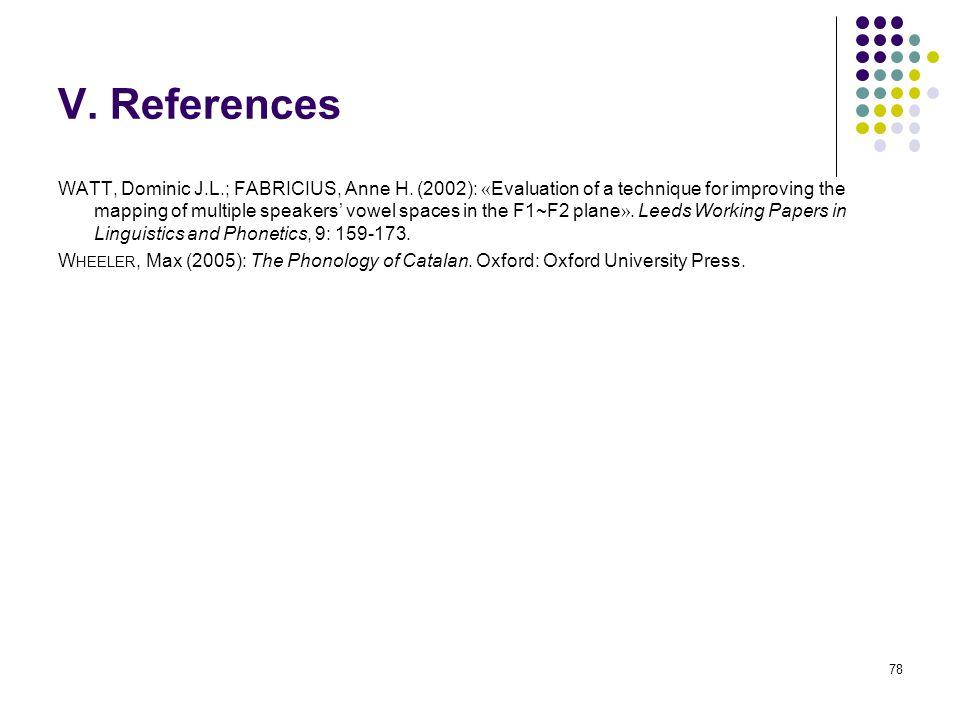 77 V. References J IMÉNEZ, Jesús (1998): «Valencian Vowel Harmony».