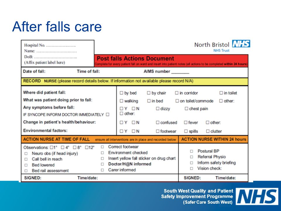 South West Quality and Patient Safety Improvement Programme (Safer Care South West) After falls care