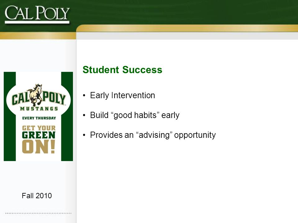 Student Success Early Intervention Build good habits early Provides an advising opportunity Fall 2010