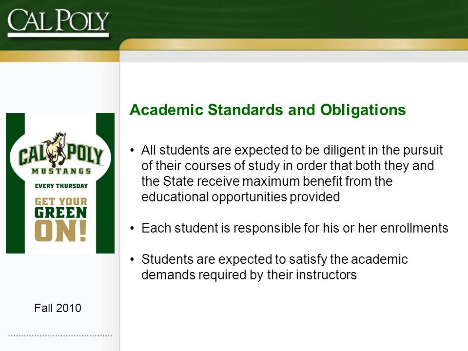 Concerns Addressed Consistent application and communication of policy Yo-Yo Students Students that have met all degree requirements that do not have a 2.0 GPA Fall 2010