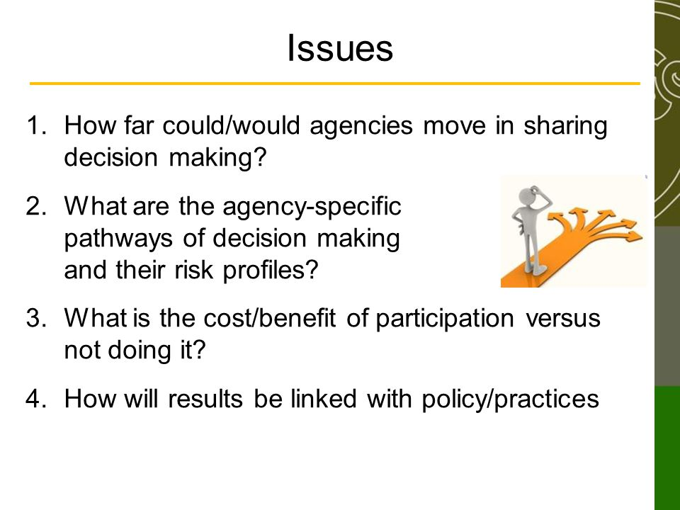 Issues 1.How far could/would agencies move in sharing decision making.