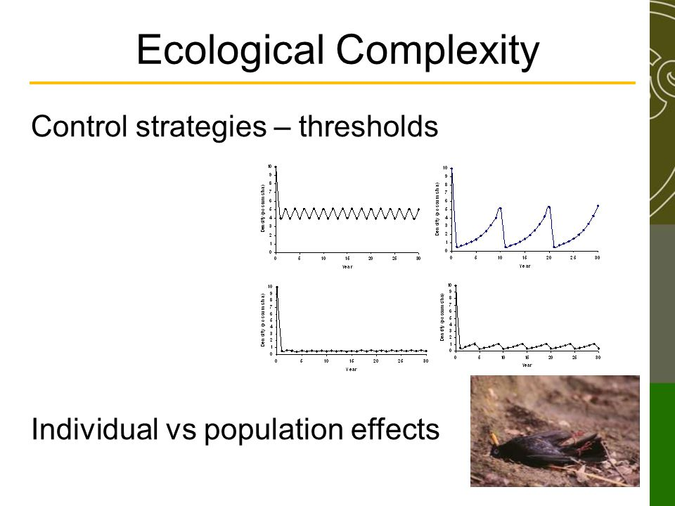 Ecological Complexity Control strategies – thresholds Individual vs population effects