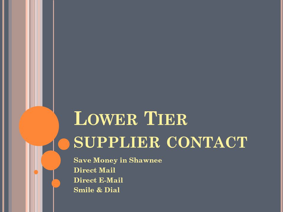 L OWER T IER SUPPLIER CONTACT Save Money in Shawnee Direct Mail Direct E-Mail Smile & Dial