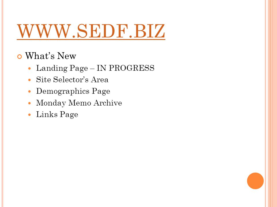 Whats New Landing Page – IN PROGRESS Site Selectors Area Demographics Page Monday Memo Archive Links Page