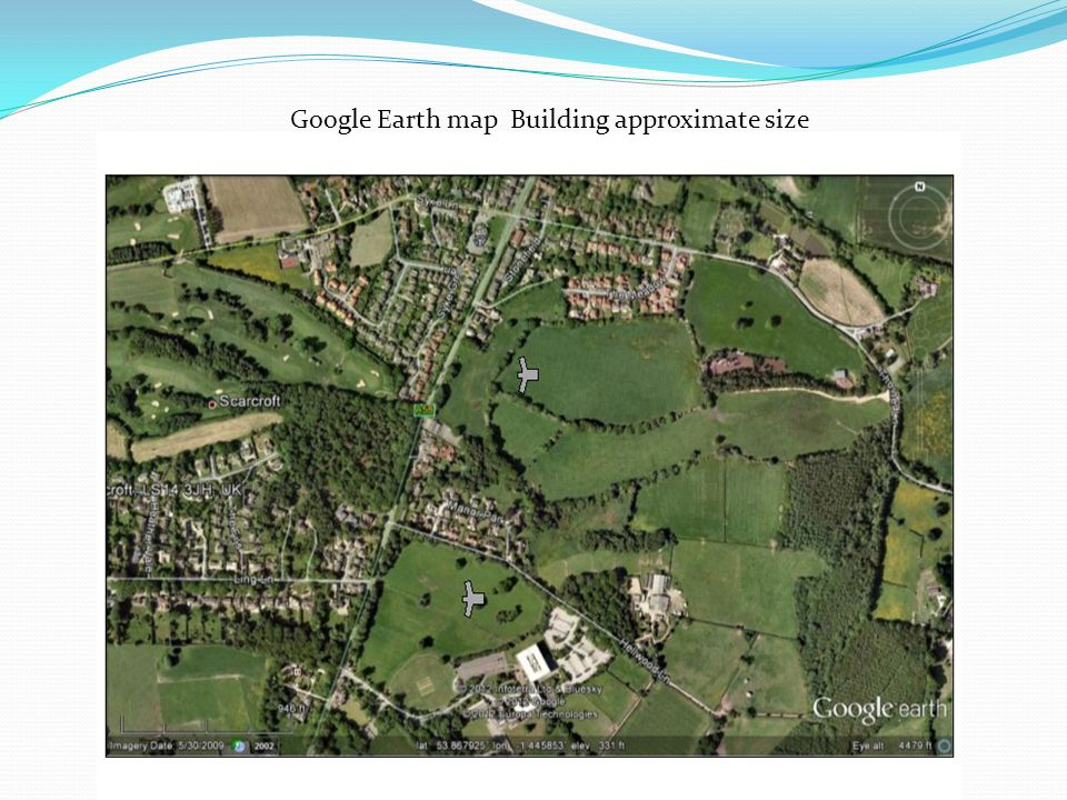 Google Earth map Building approximate size