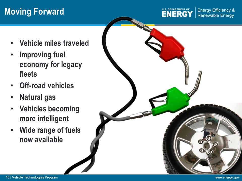 eere.energy.gov 10 | Vehicle Technologies Program Vehicle miles traveled Improving fuel economy for legacy fleets Off-road vehicles Natural gas Vehicles becoming more intelligent Wide range of fuels now available Moving Forward