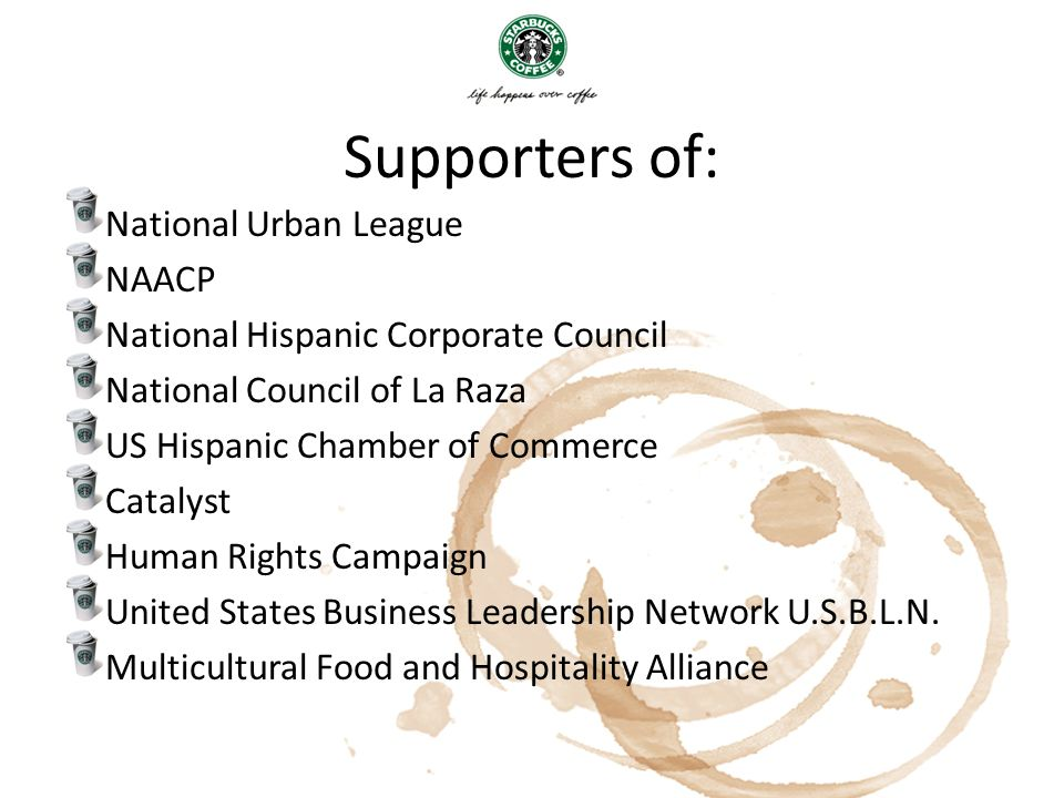 Supporters of: National Urban League NAACP National Hispanic Corporate Council National Council of La Raza US Hispanic Chamber of Commerce Catalyst Hu