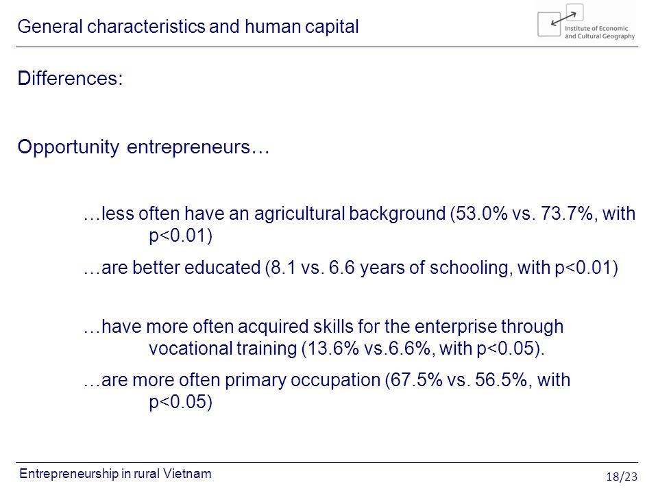 18/23 Entrepreneurship in rural Vietnam Differences: Opportunity entrepreneurs… …less often have an agricultural background (53.0% vs.