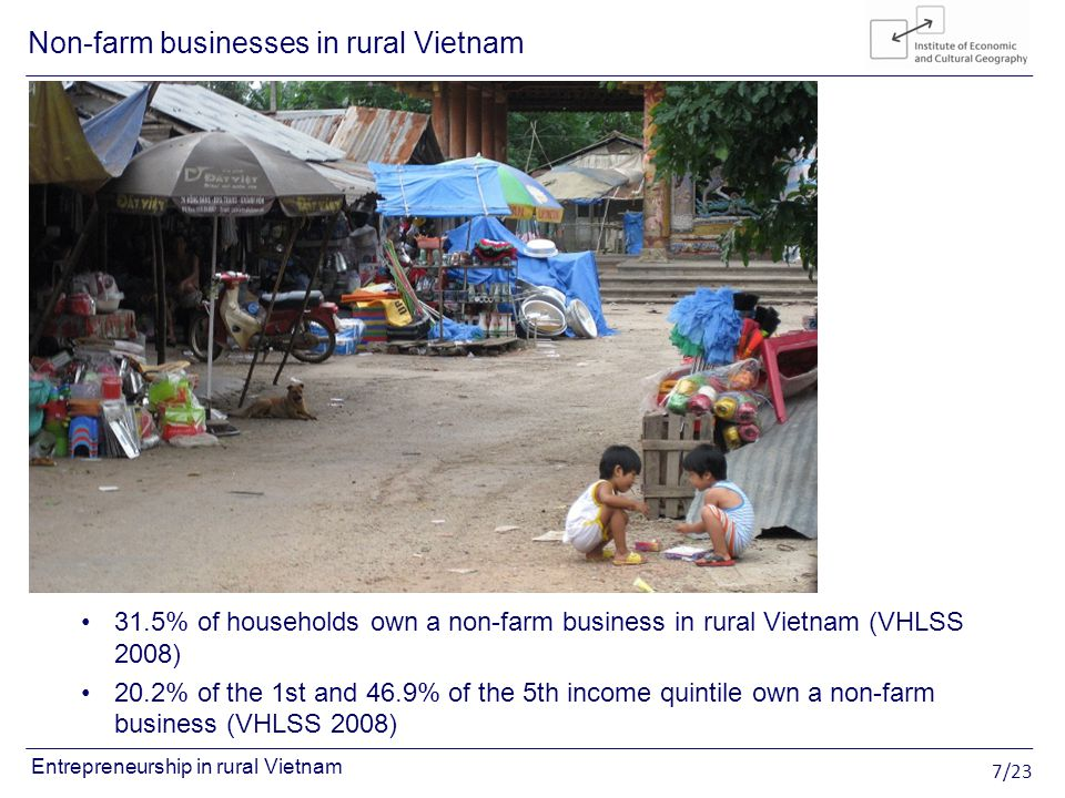 7/23 Entrepreneurship in rural Vietnam 31.5% of households own a non-farm business in rural Vietnam (VHLSS 2008) 20.2% of the 1st and 46.9% of the 5th income quintile own a non-farm business (VHLSS 2008) Non-farm businesses in rural Vietnam