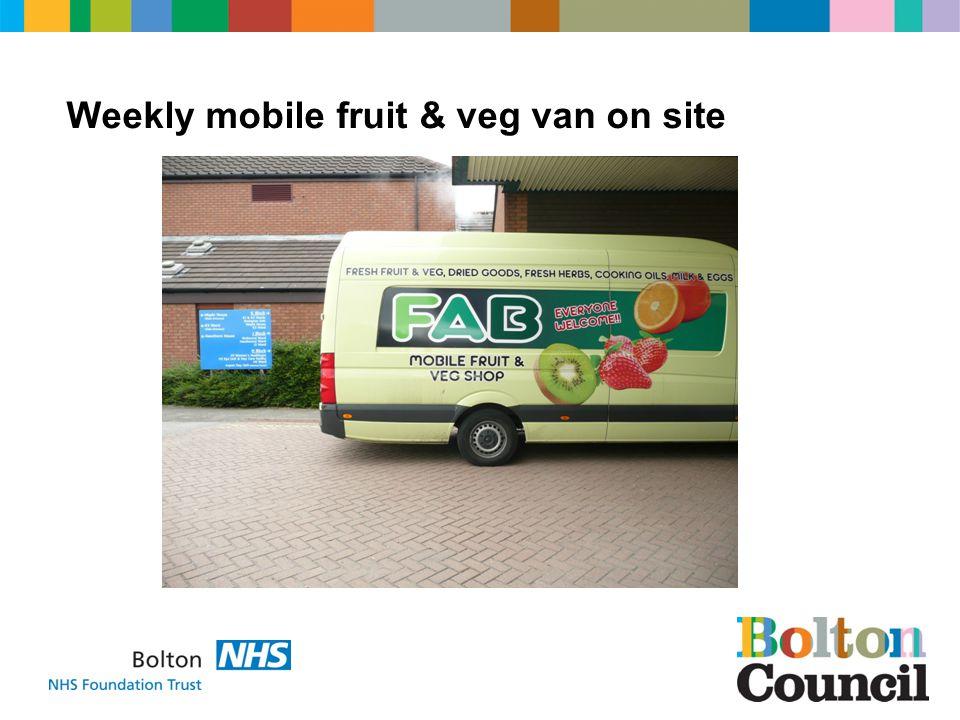 Weekly mobile fruit & veg van on site