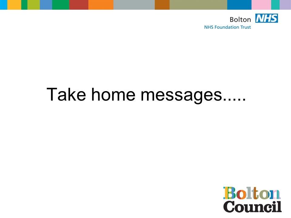 Take home messages.....