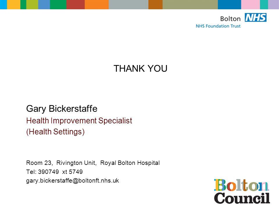 THANK YOU Gary Bickerstaffe Health Improvement Specialist (Health Settings) Room 23, Rivington Unit, Royal Bolton Hospital Tel: 390749 xt 5749 gary.bickerstaffe@boltonft.nhs.uk