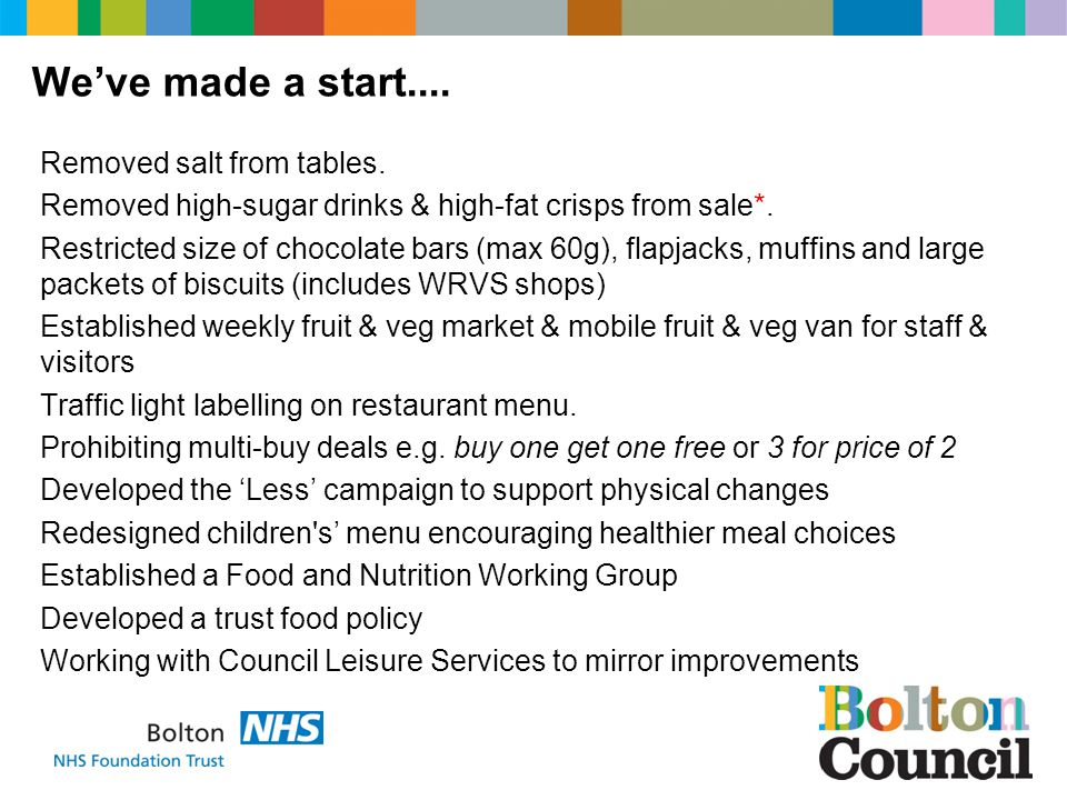 Removed salt from tables. Removed high-sugar drinks & high-fat crisps from sale*.