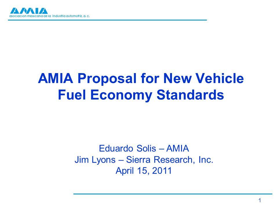 asociación mexicana de la industria automotriz, a. c. 1 AMIA Proposal for New Vehicle Fuel Economy Standards Eduardo Solis – AMIA Jim Lyons – Sierra R