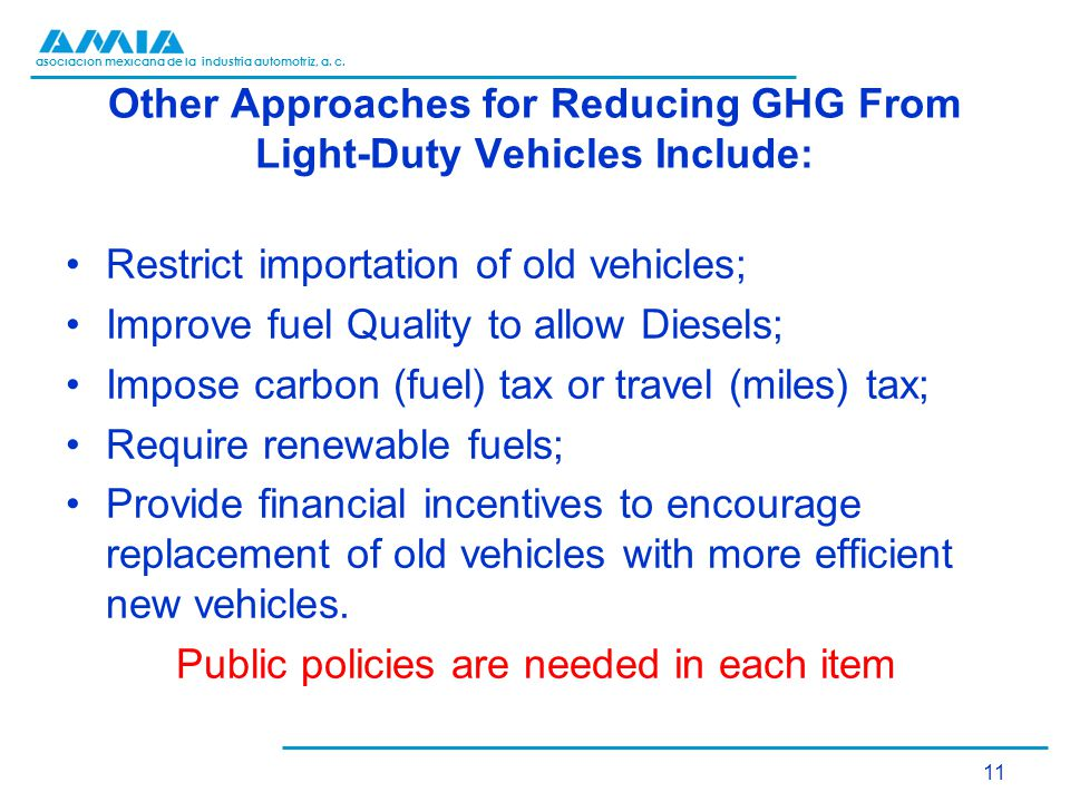 asociación mexicana de la industria automotriz, a. c. Other Approaches for Reducing GHG From Light-Duty Vehicles Include: Restrict importation of old