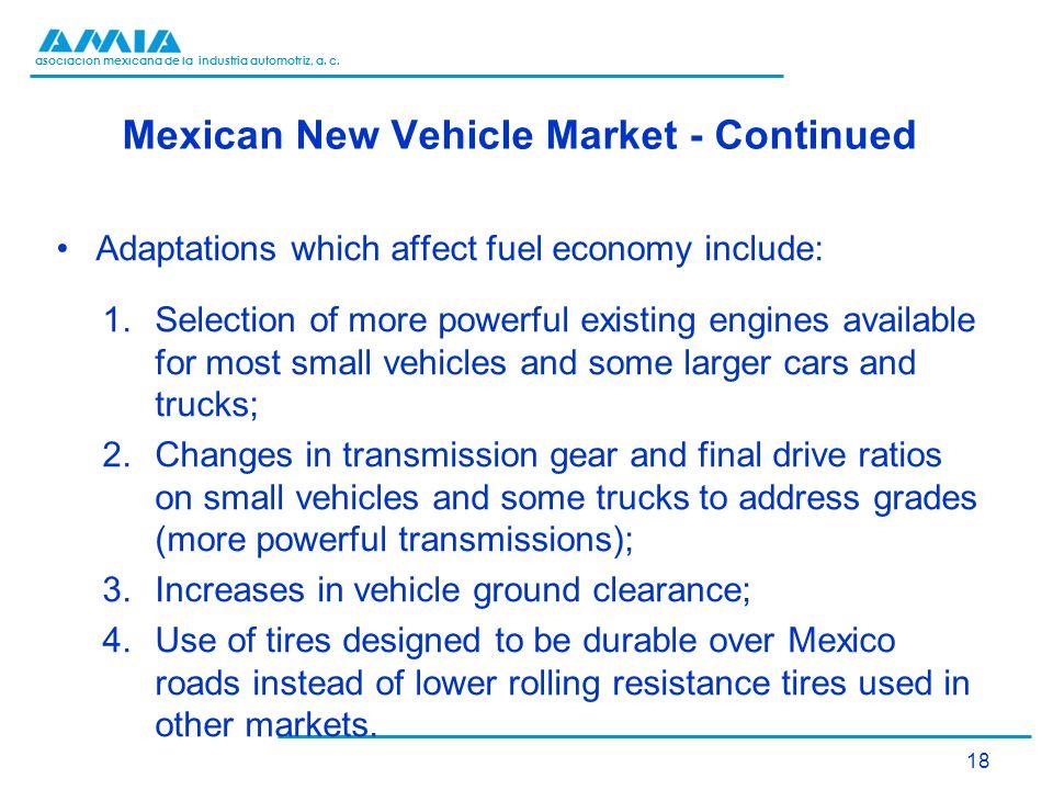asociación mexicana de la industria automotriz, a. c. Mexican New Vehicle Market - Continued Adaptations which affect fuel economy include: 1.Selectio